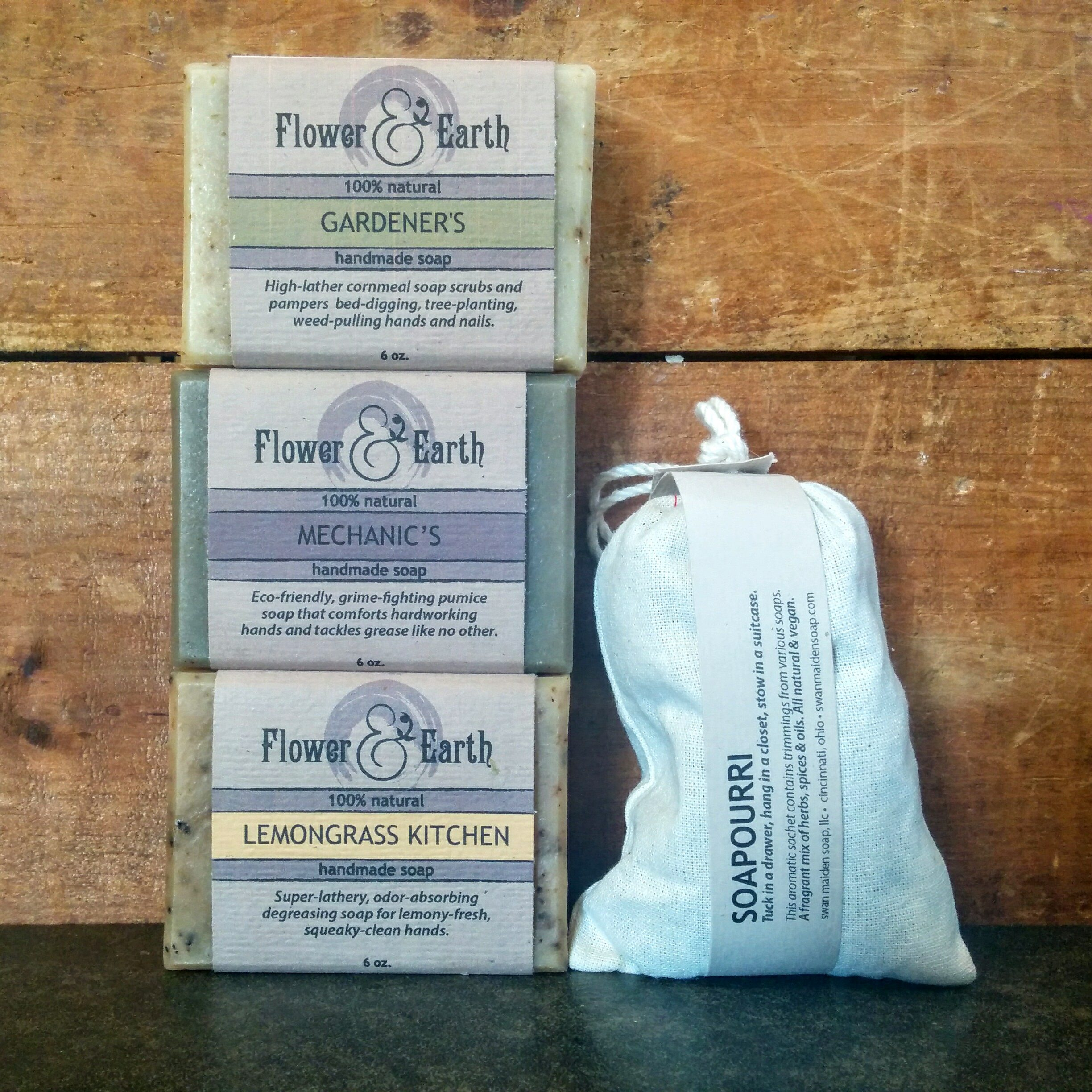 Our Around The House Soap Set, featuring Handmade Gardener's Soap with Locally Sourced Cornmeal.